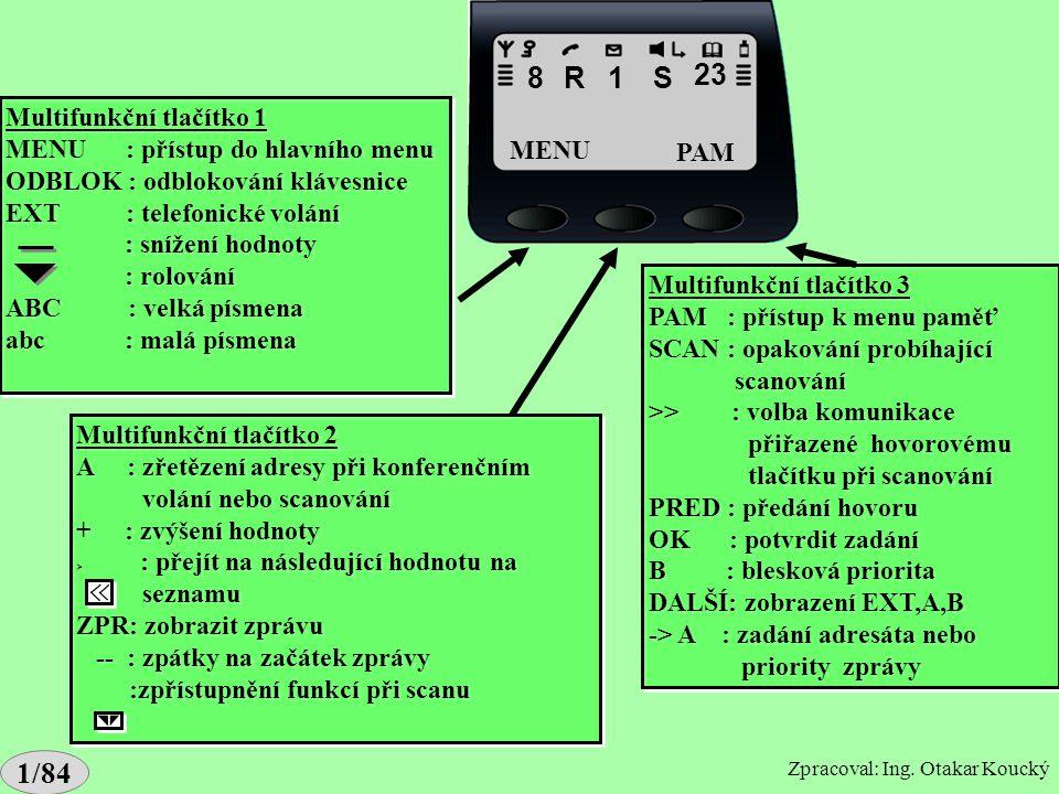 Popis displeje G2 hč.Popis displeje G2 hč. 8RS23 MENUPAM Probíhající komunikace: R : síťový režim d : přímý režim T : volání PABX r : IDR šifrování sí