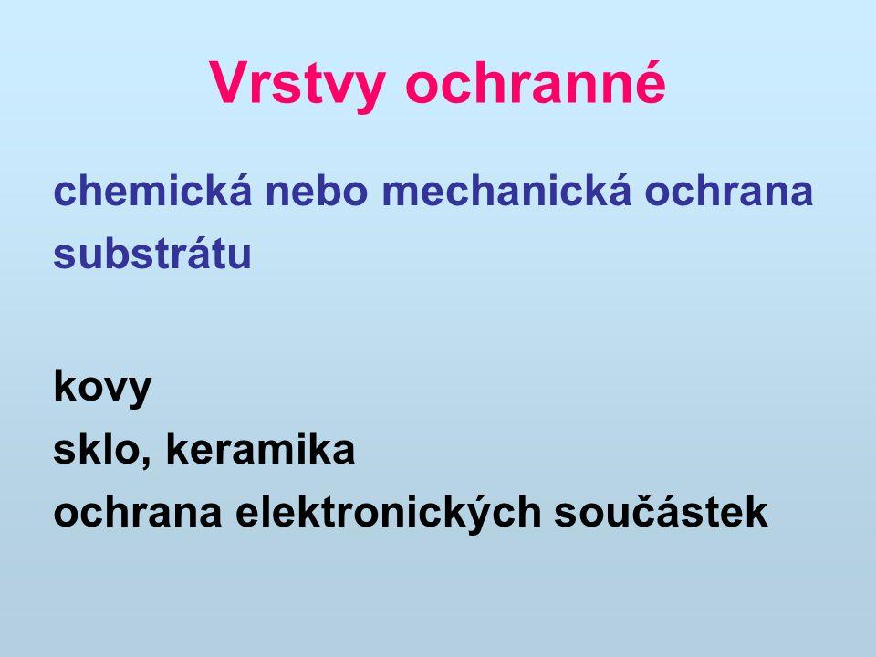 Vrstvy s elektrickými funkcemi Vrstvy SiO 2 a nově i ORMOCERu jako dielektrické vrstvy v elektronice a mikroelektronice ORMOCER s dielektrickou pevností 200 V/µm jako separační vrstva do palivových článků.