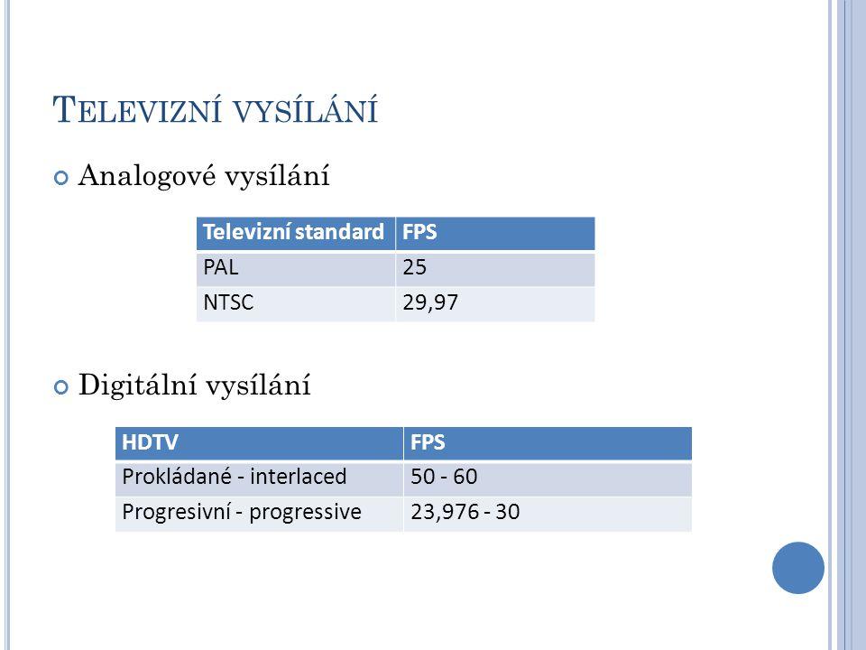 T ELEVIZNÍ VYSÍLÁNÍ Analogové vysílání Digitální vysílání Televizní standardFPS PAL25 NTSC29,97 HDTVFPS Prokládané - interlaced50 - 60 Progresivní - progressive23,976 - 30