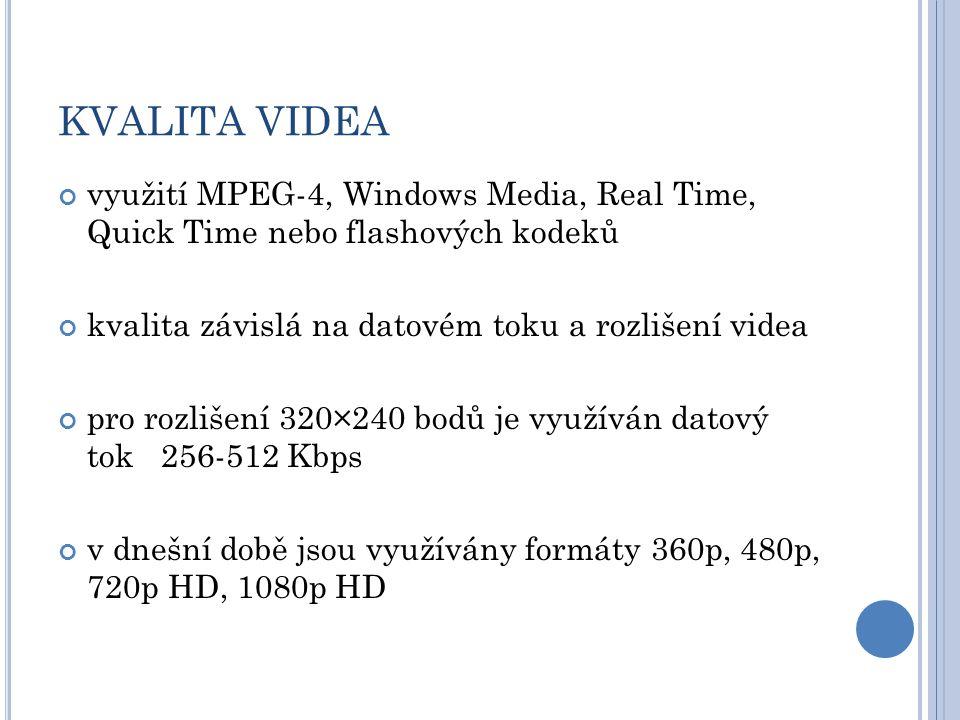 KVALITA VIDEA využití MPEG-4, Windows Media, Real Time, Quick Time nebo flashových kodeků kvalita závislá na datovém toku a rozlišení videa pro rozlišení 320×240 bodů je využíván datový tok 256-512 Kbps v dnešní době jsou využívány formáty 360p, 480p, 720p HD, 1080p HD