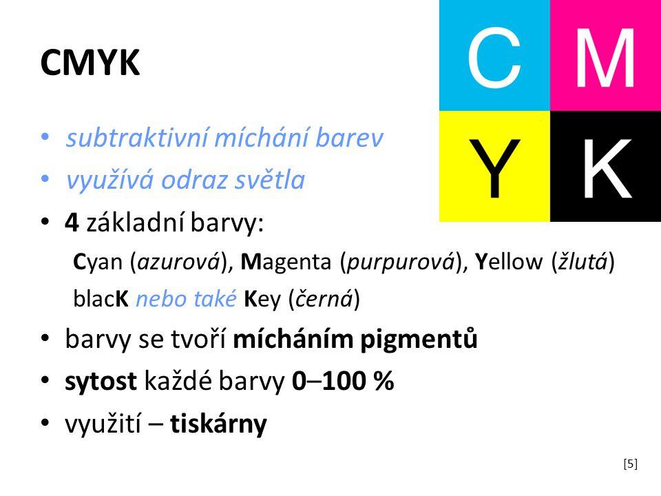 subtraktivní míchání barev využívá odraz světla 4 základní barvy: Cyan (azurová), Magenta (purpurová), Yellow (žlutá) blacK nebo také Key (černá) barvy se tvoří mícháním pigmentů sytost každé barvy 0–100 % využití – tiskárny [5]