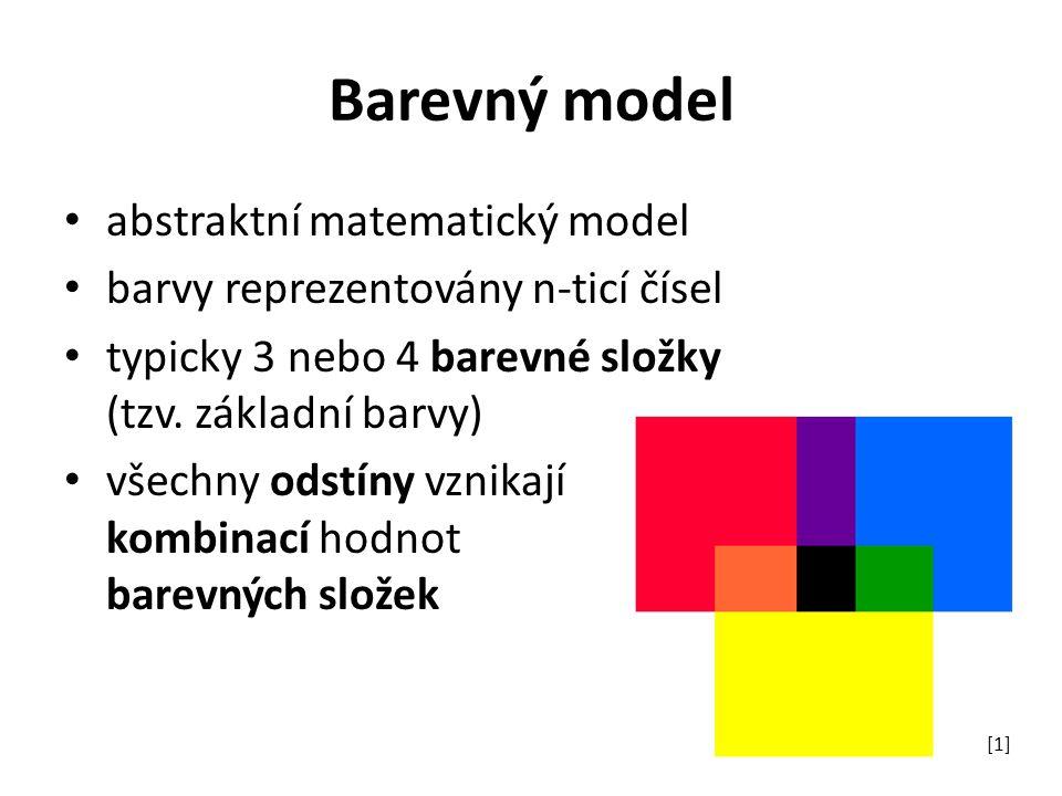 Barevný model abstraktní matematický model barvy reprezentovány n-ticí čísel typicky 3 nebo 4 barevné složky (tzv. základní barvy) všechny odstíny vzn