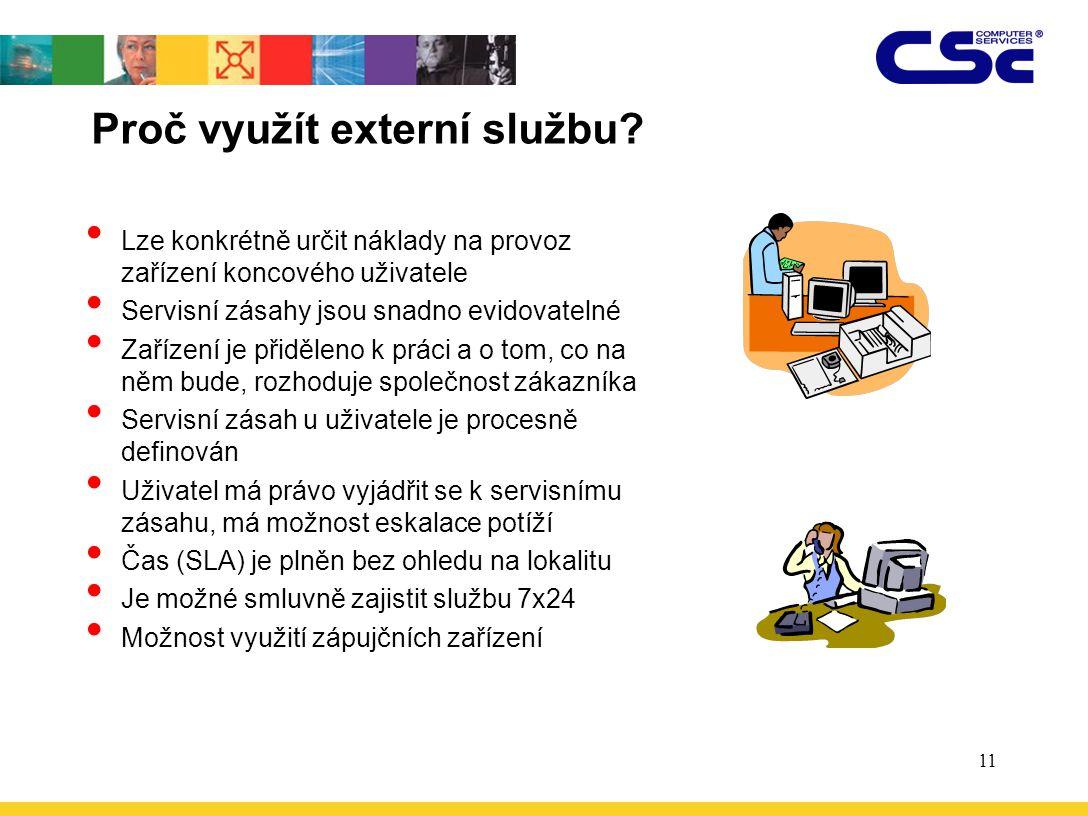 11 Proč využít externí službu? Lze konkrétně určit náklady na provoz zařízení koncového uživatele Servisní zásahy jsou snadno evidovatelné Zařízení je