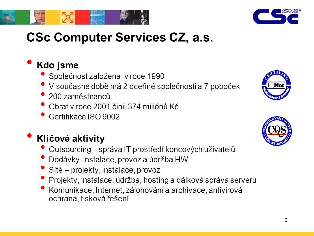 2 CSc Computer Services CZ, a.s. Kdo jsme Společnost založena v roce 1990 V současné době má 2 dceřiné společnosti a 7 poboček 200 zaměstnanců Obrat v