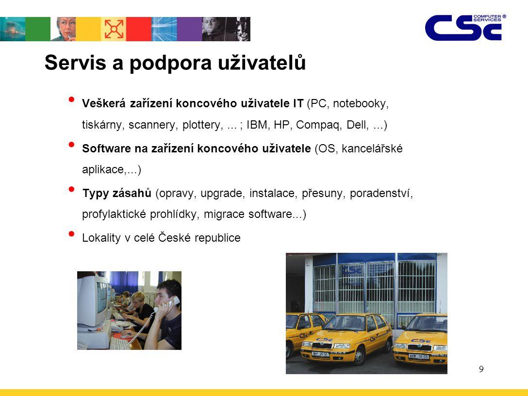 9 Servis a podpora uživatelů Veškerá zařízení koncového uživatele IT (PC, notebooky, tiskárny, scannery, plottery,... ; IBM, HP, Compaq, Dell,...) Sof