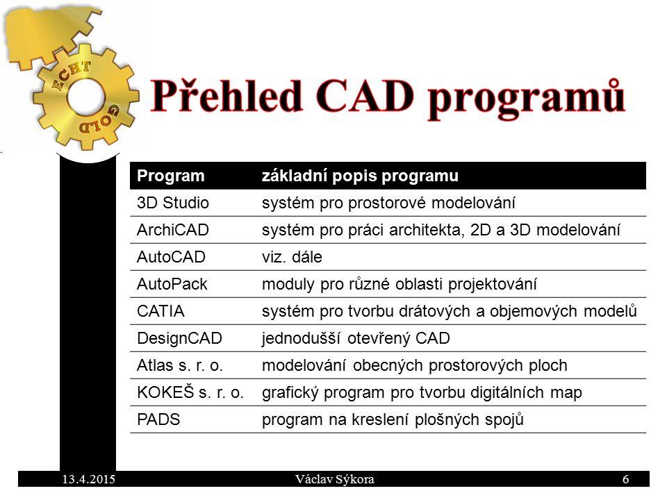 Programzákladní popis programu 3D Studiosystém pro prostorové modelování ArchiCADsystém pro práci architekta, 2D a 3D modelování AutoCADviz.