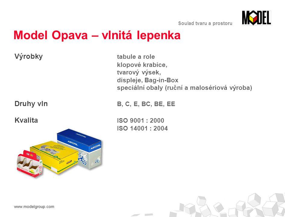 www.modelgroup.com Soulad tvaru a prostoru Model Opava – vlnitá lepenka Výrobky tabule a role klopové krabice, tvarový výsek, displeje, Bag-in-Box speciální obaly (ruční a malosériová výroba) Druhy vln B, C, E, BC, BE, EE Kvalita ISO 9001 : 2000 ISO 14001 : 2004