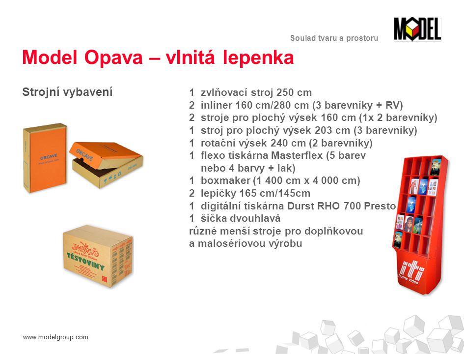 www.modelgroup.com Soulad tvaru a prostoru Model Opava – vlnitá lepenka Strojní vybavení 1 zvlňovací stroj 250 cm 2 inliner 160 cm/280 cm (3 barevníky + RV) 2 stroje pro plochý výsek 160 cm (1x 2 barevníky) 1 stroj pro plochý výsek 203 cm (3 barevníky) 1 rotační výsek 240 cm (2 barevníky) 1 flexo tiskárna Masterflex (5 barev nebo 4 barvy + lak) 1 boxmaker (1 400 cm x 4 000 cm) 2 lepičky 165 cm/145cm 1 digitální tiskárna Durst RHO 700 Presto 1 šička dvouhlavá různé menší stroje pro doplňkovou a malosériovou výrobu