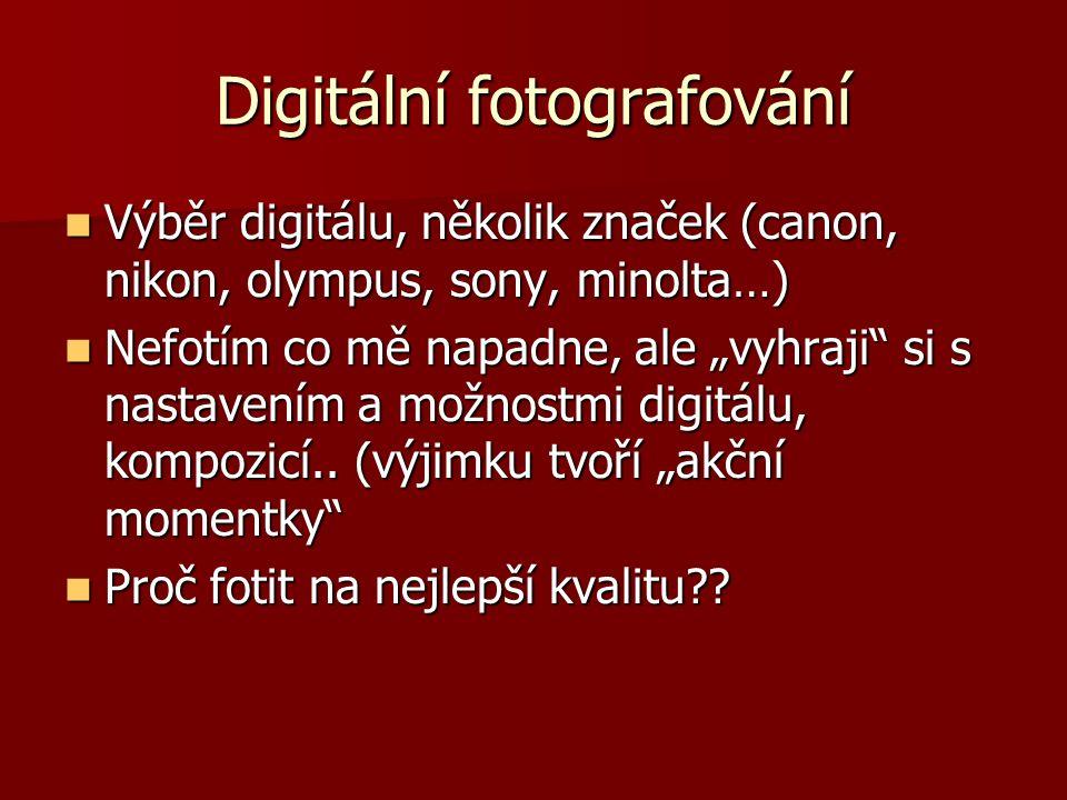Digitální fotografování Výběr digitálu, několik značek (canon, nikon, olympus, sony, minolta…) Výběr digitálu, několik značek (canon, nikon, olympus,