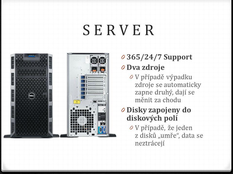 """S E R V E R 0 365/24/7 Support 0 Dva zdroje 0 V případě výpadku zdroje se automaticky zapne druhý, dají se měnit za chodu 0 Disky zapojeny do diskových polí 0 V případě, že jeden z disků """"umře , data se neztrácejí"""