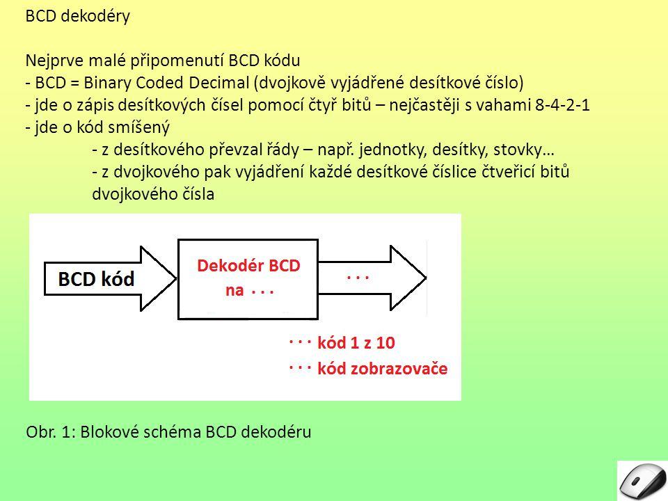 Dekodéry pro segmentové displeje – pokračování d) Dekodér pro segmentový displej je součástí jiného obvodu, který v řetězci pro zpracování informace předchází zobrazení výstupu – jde např.