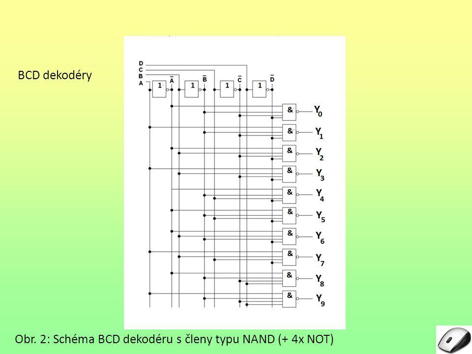 BCD dekodéry Obr. 2: Schéma BCD dekodéru s členy typu NAND (+ 4x NOT)