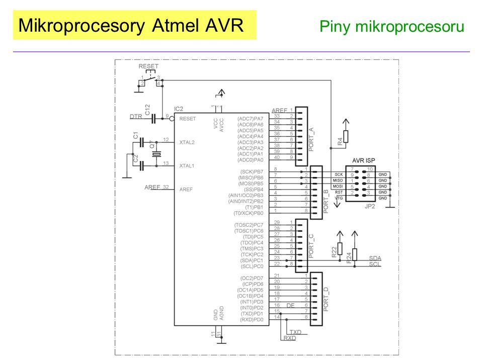 Mikroprocesory Atmel AVR Piny mikroprocesoru