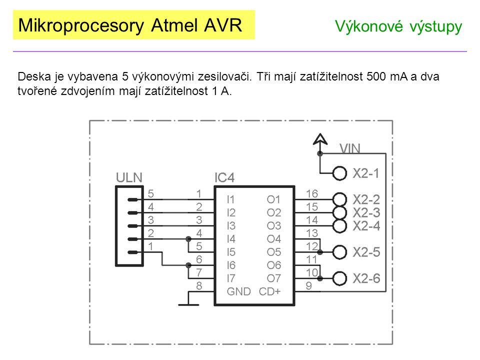 Mikroprocesory Atmel AVR Výkonové výstupy Deska je vybavena 5 výkonovými zesilovači. Tři mají zatížitelnost 500 mA a dva tvořené zdvojením mají zatíži