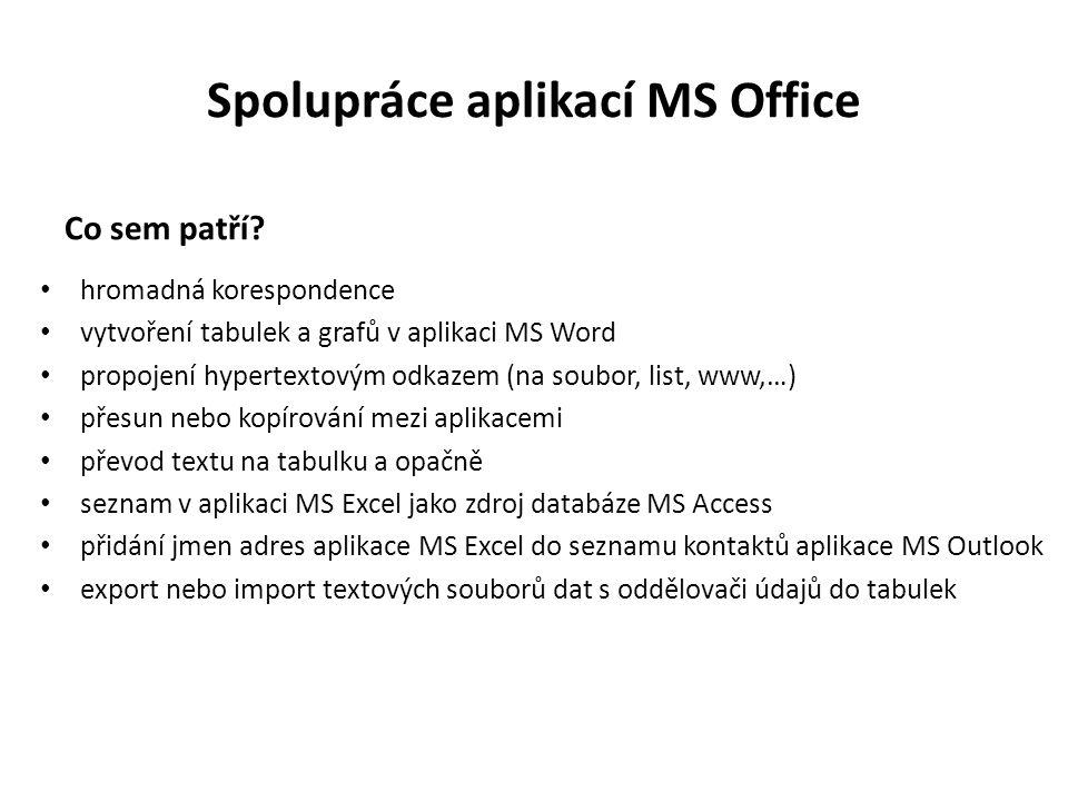Spolupráce aplikací MS Office Co sem patří.