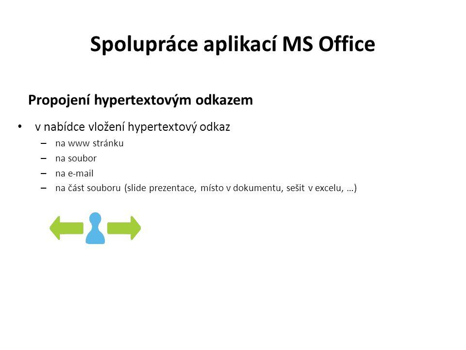Spolupráce aplikací MS Office Propojení hypertextovým odkazem v nabídce vložení hypertextový odkaz – na www stránku – na soubor – na e-mail – na část souboru (slide prezentace, místo v dokumentu, sešit v excelu, …)