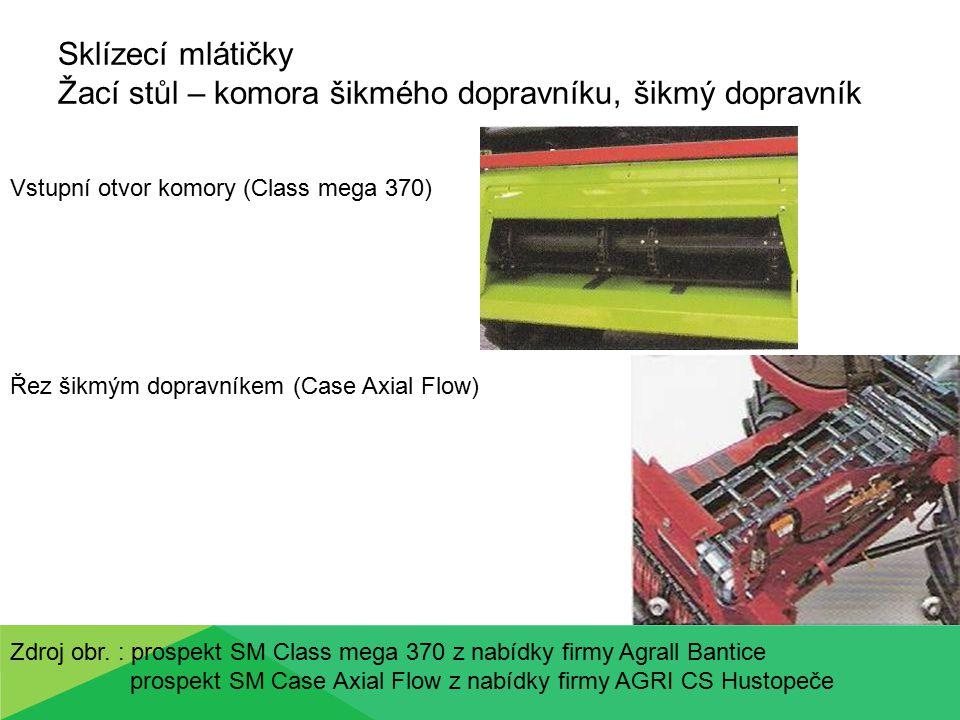 Sklízecí mlátičky Žací stůl – komora šikmého dopravníku, šikmý dopravník Vstupní otvor komory (Class mega 370) Řez šikmým dopravníkem (Case Axial Flow
