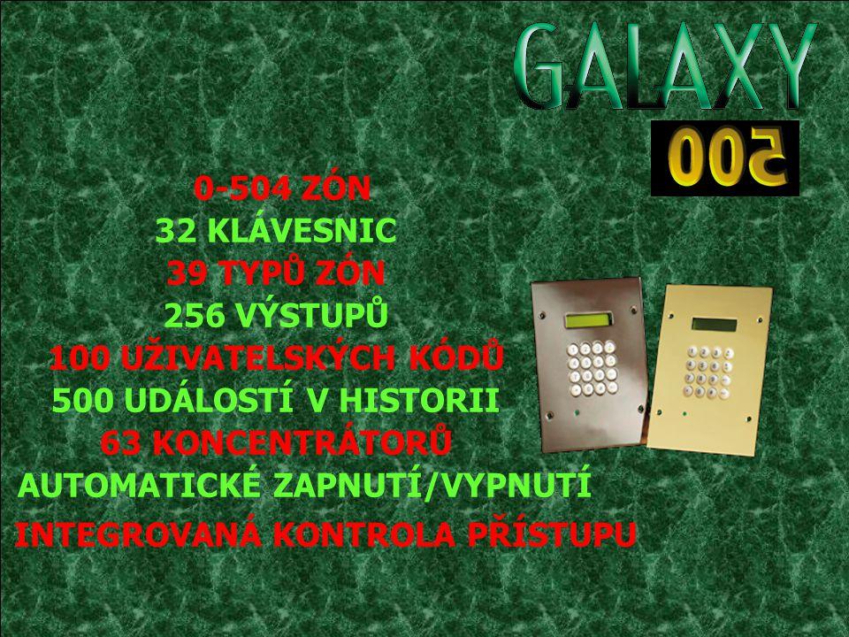 Konfigurace systému Galaxy 500 4 RS 485 až 4 km Klávesnice (32) Modul RS-232 (1) Bezkontaktní čtečky (32) Tiskový interface (1) Telefonní komunikátor (1) Smart PSU (63) RIO (63) Linka 2 1 km (Max.) Linka 3 1 km (Max.) Linka 4 1 km (Max.) Linka 1 1 km (Max.)