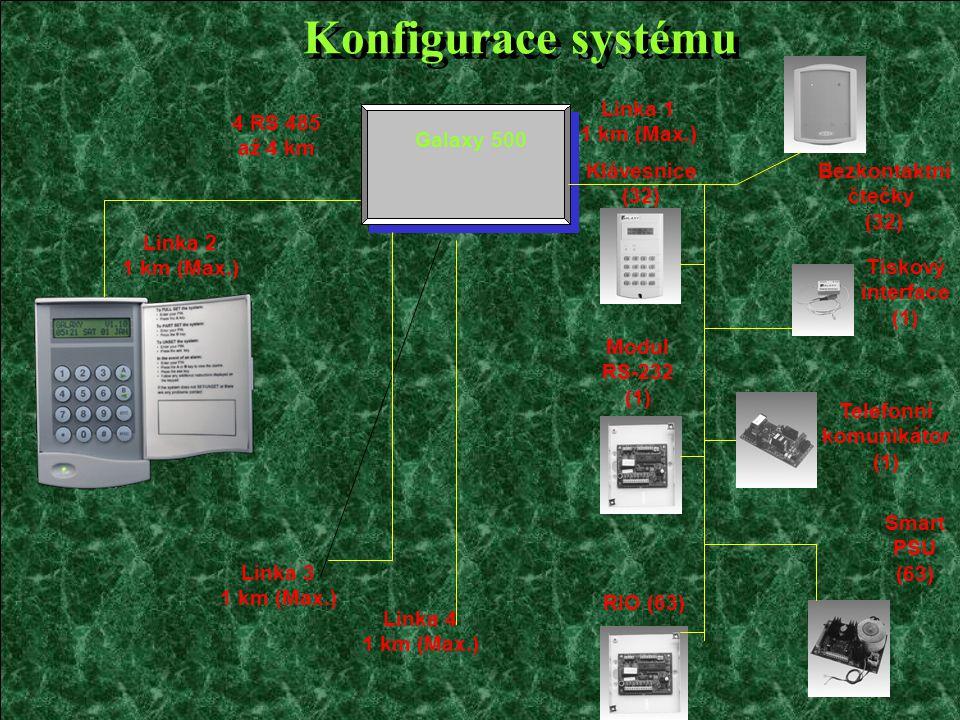 Konfigurace systému Galaxy 500 4 RS 485 až 4 km Klávesnice (32) Modul RS-232 (1) Bezkontaktní čtečky (32) Tiskový interface (1) Telefonní komunikátor