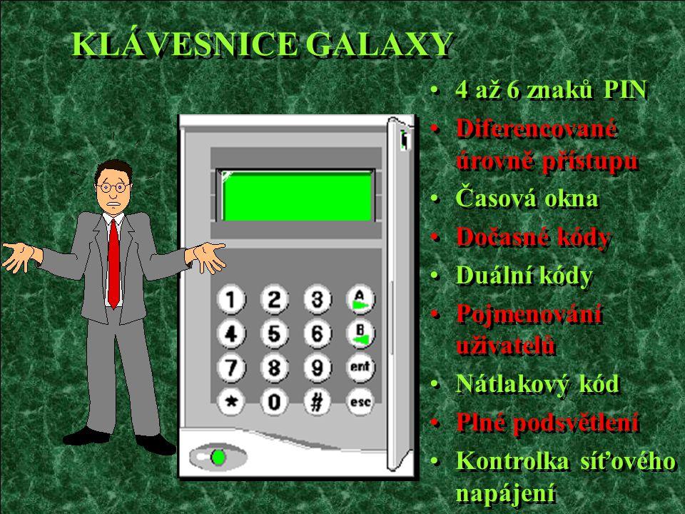 KLÁVESNICE GALAXY 4 až 6 znaků PIN Diferencované úrovně přístupu Časová okna Dočasné kódy Duální kódy Pojmenování uživatelů Nátlakový kód Plné podsvět