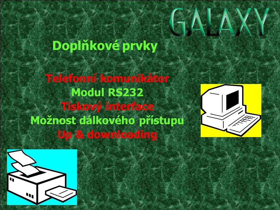 Telefonní komunikátor Modul RS232 Tiskový interface Možnost dálkového přístupu Up & downloading Doplňkové prvky