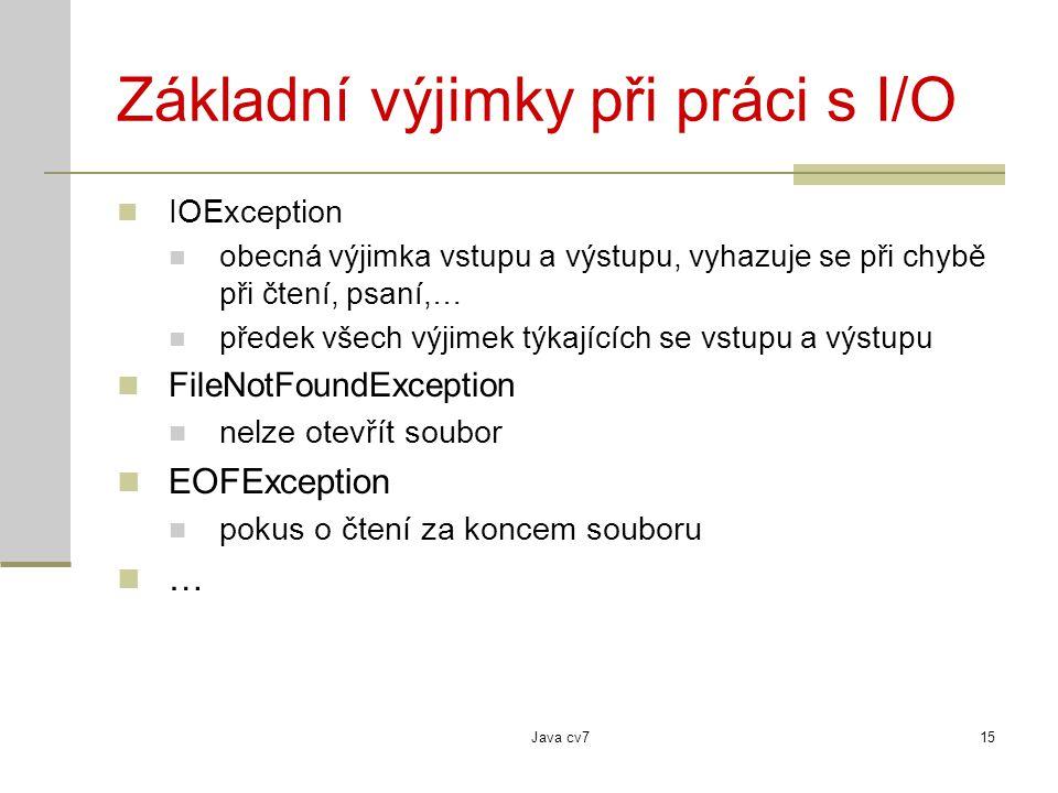 Java cv715 Základní výjimky při práci s I/O IOException obecná výjimka vstupu a výstupu, vyhazuje se při chybě při čtení, psaní,… předek všech výjimek týkajících se vstupu a výstupu FileNotFoundException nelze otevřít soubor EOFException pokus o čtení za koncem souboru …
