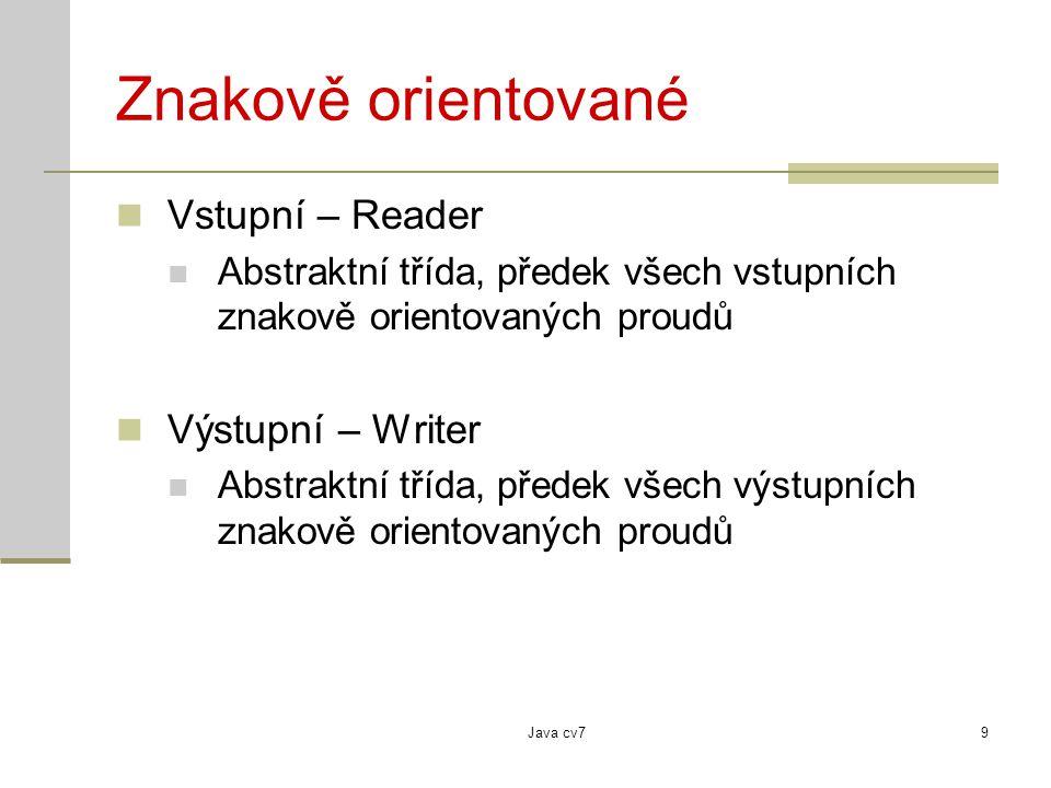 Java cv79 Znakově orientované Vstupní – Reader Abstraktní třída, předek všech vstupních znakově orientovaných proudů Výstupní – Writer Abstraktní třída, předek všech výstupních znakově orientovaných proudů