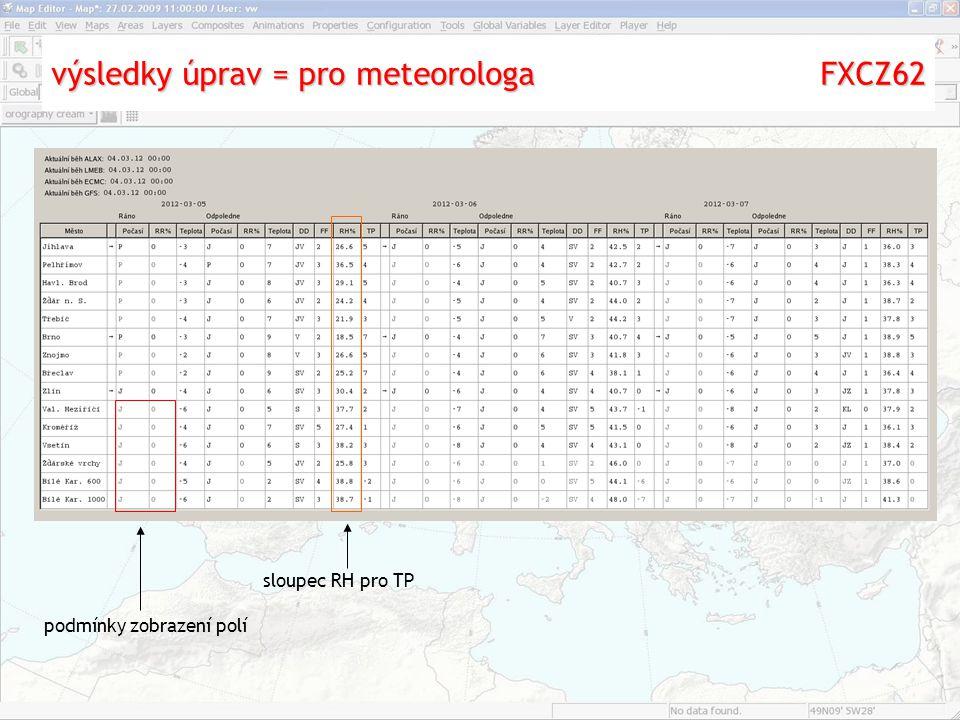 výsledky úprav = pro meteorologa FXCZ62 podmínky zobrazení polí sloupec RH pro TP