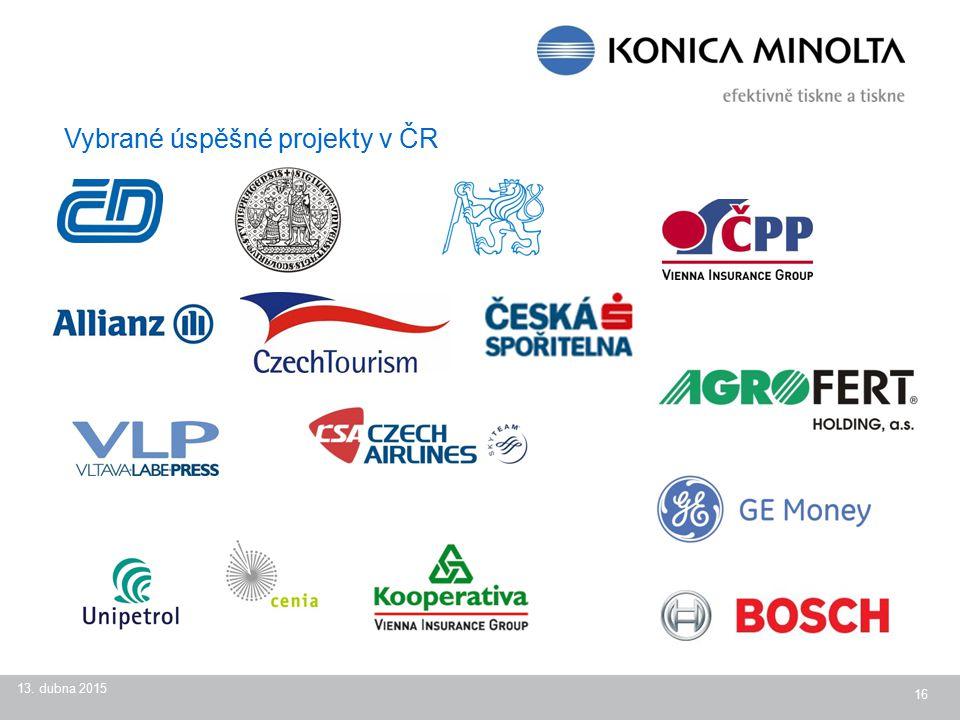13. dubna 2015 16 Vybrané úspěšné projekty v ČR