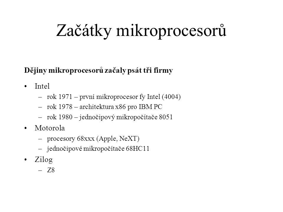 Současné trendy Procesory pro PC –o trh se dělí firmy Intel a AMD –setrvává u architektury x86, programátorský model se v zásadě nemění, rozšiřují se registry (16  32  64), zásadně se mění hardwarová koncepce (FPU, superskalární architektura, multi-core) Embedded procesory –architektura x86 – nejvýznamnější je rodina AMD Geode –licencovaná jádra RISC – ARM, MIPS –proprietální architektury – ColdFire, ARM32, PIC32 Jednočipové mikropočítače –plejády rodin a typů s různým počtem vývodů, různými druhy pouzder a různou výbavou periferií –revolučním prvkem bylo zavedení integrované paměti FLASH –procesory s jádrem 8051 produkuje řada významných výrobců, proč.