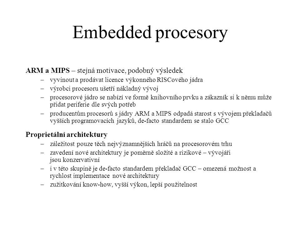 Jednočipové mikropočítače 8051 –mnoho výrobců elektronický součástek stále nabízí procesory s tímto jádrem –ačkoliv se tyto procesory nabízí s pamětí FLASH a bývají vybaveny moderními periferiemi, architektura už je překonaná –1 strojový cyklus se skládá z 12-ti hodinových  horší poměr výkon / spotřeba –nešikovná instrukční sada, většina operací používá akumulátor AVR (Atmel), PIC (Microchip) –nejvýznamnější výrobci jednočipových počítačů –moderní 8-mi bitová RISC architektura –většina instrukcí se zpracovává v jednom hodinovém cyklu (1MIPS / 1MHz) –dostupné v provedení s integrovanou pamětí FLASH pro kód, SRAM pro data a EEPROM pro ukládání konfigurace, kalibračních konstant apod.