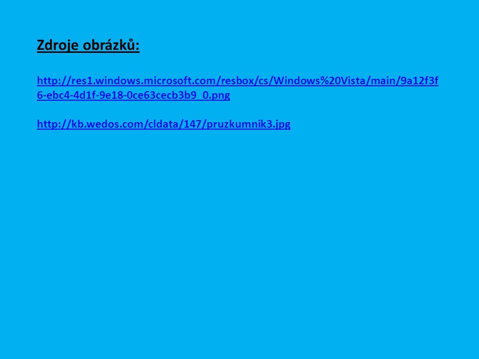 Zdroje obrázků: http://res1.windows.microsoft.com/resbox/cs/Windows%20Vista/main/9a12f3f 6-ebc4-4d1f-9e18-0ce63cecb3b9_0.png http://kb.wedos.com/cldata/147/pruzkumnik3.jpg