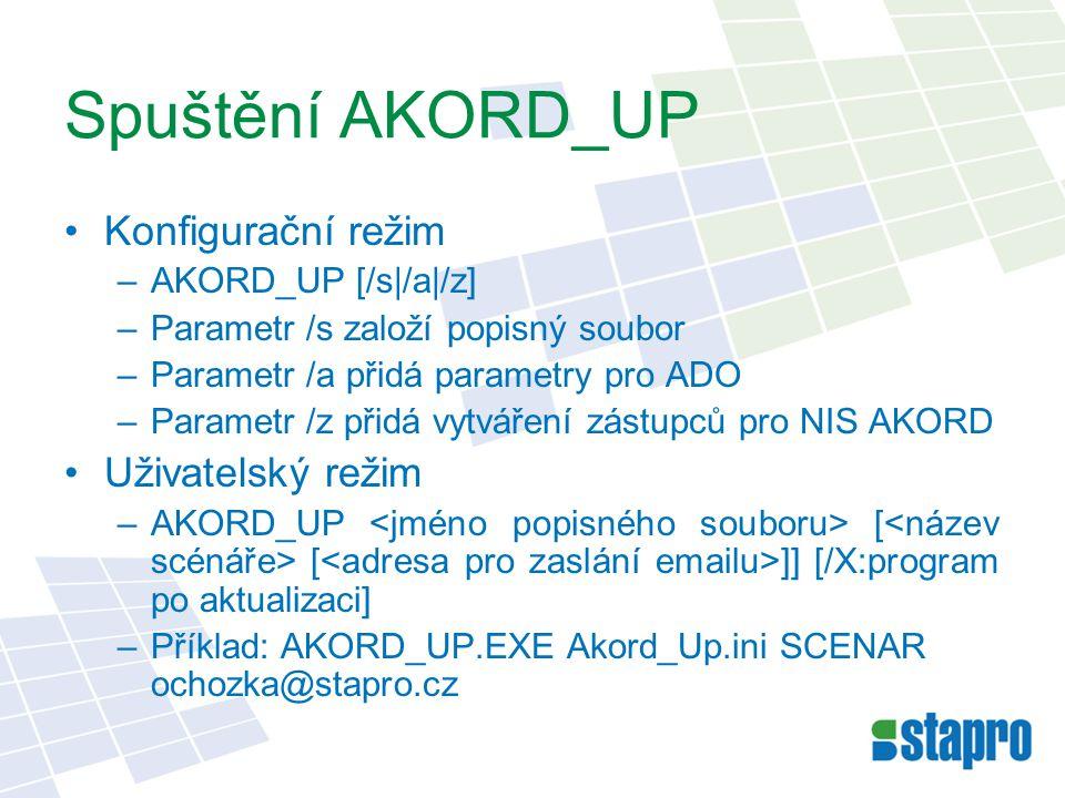 Spuštění AKORD_UP Konfigurační režim –AKORD_UP [/s|/a|/z] –Parametr /s založí popisný soubor –Parametr /a přidá parametry pro ADO –Parametr /z přidá vytváření zástupců pro NIS AKORD Uživatelský režim –AKORD_UP [ [ ]] [/X:program po aktualizaci] –Příklad: AKORD_UP.EXE Akord_Up.ini SCENAR ochozka@stapro.cz