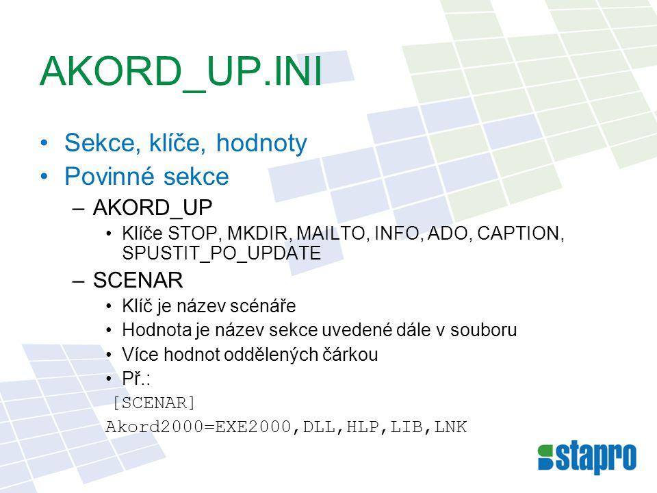 AKORD_UP.INI Sekce, klíče, hodnoty Povinné sekce –AKORD_UP Klíče STOP, MKDIR, MAILTO, INFO, ADO, CAPTION, SPUSTIT_PO_UPDATE –SCENAR Klíč je název scénáře Hodnota je název sekce uvedené dále v souboru Více hodnot oddělených čárkou Př.: [SCENAR] Akord2000=EXE2000,DLL,HLP,LIB,LNK
