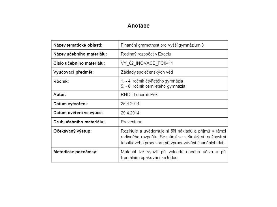 Anotace Název tematické oblasti: Finanční gramotnost pro vyšší gymnázium 3 Název učebního materiálu: Rodinný rozpočet v Excelu Číslo učebního materiál