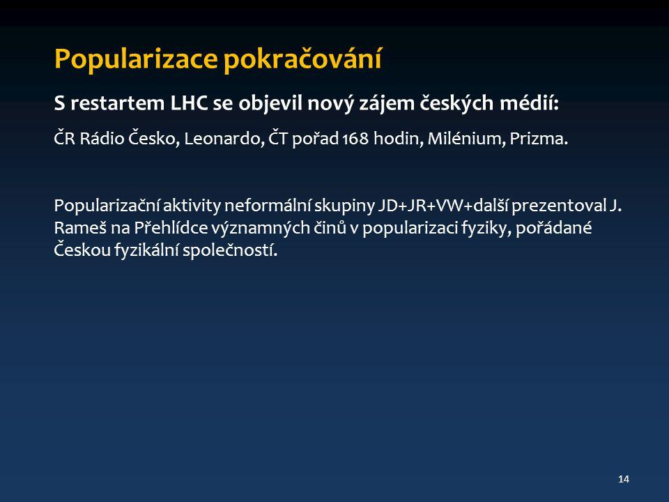 Popularizace pokračování S restartem LHC se objevil nový zájem českých médií: ČR Rádio Česko, Leonardo, ČT pořad 168 hodin, Milénium, Prizma. Populari