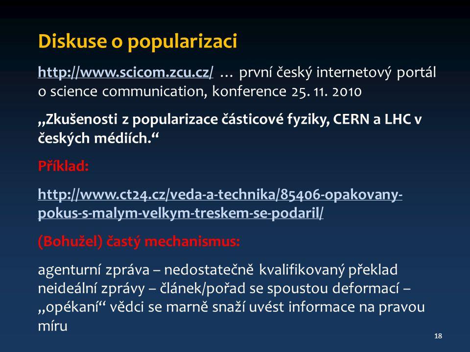 Diskuse o popularizaci http://www.scicom.zcu.cz/http://www.scicom.zcu.cz/ … první český internetový portál o science communication, konference 25.