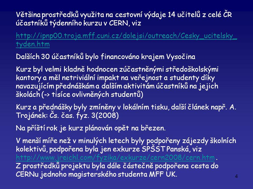 4 Většina prostředků využita na cestovní výdaje 14 učitelů z celé ČR účastníků týdenního kurzu v CERN, viz http://ipnp00.troja.mff.cuni.cz/dolejsi/outreach/Cesky_ucitelsky_ tyden.htm Dalších 30 účastníků bylo financováno krajem Vysočina Kurz byl velmi kladně hodnocen zúčastněnými středoškolskými kantory a měl netriviální impakt na veřejnost a studenty díky navazujícím přednáškám a dalším aktivitám účastníků na jejich školách (-> tisíce ovlivněných studentů) Kurz a přednášky byly zmíněny v lokálním tisku, další článek např.