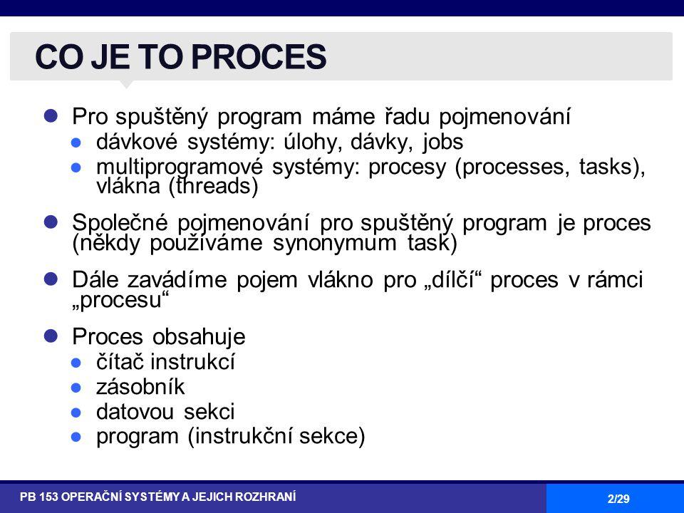 """2/29 Pro spuštěný program máme řadu pojmenování ●dávkové systémy: úlohy, dávky, jobs ●multiprogramové systémy: procesy (processes, tasks), vlákna (threads) Společné pojmenování pro spuštěný program je proces (někdy používáme synonymum task) Dále zavádíme pojem vlákno pro """"dílčí proces v rámci """"procesu Proces obsahuje ●čítač instrukcí ●zásobník ●datovou sekci ●program (instrukční sekce) CO JE TO PROCES PB 153 OPERAČNÍ SYSTÉMY A JEJICH ROZHRANÍ"""