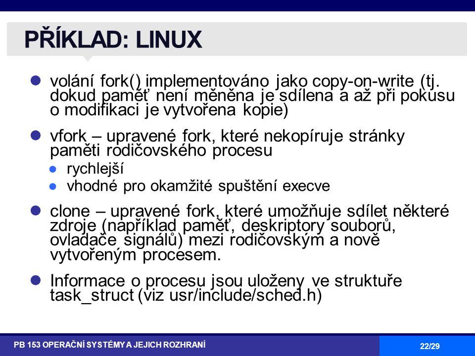 22/29 volání fork() implementováno jako copy-on-write (tj.