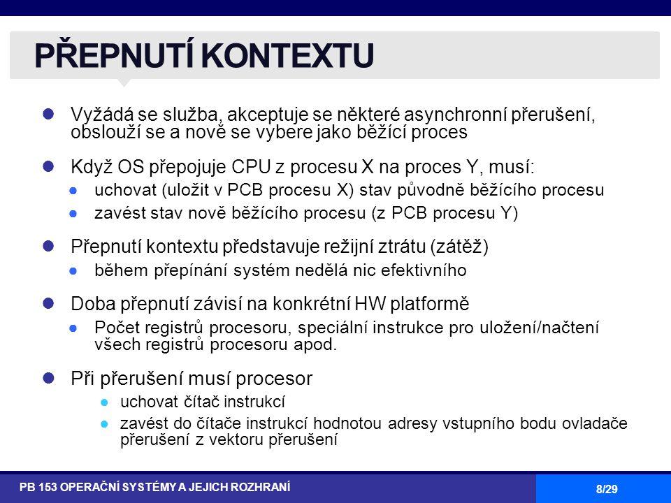 8/29 Vyžádá se služba, akceptuje se některé asynchronní přerušení, obslouží se a nově se vybere jako běžící proces Když OS přepojuje CPU z procesu X na proces Y, musí: ●uchovat (uložit v PCB procesu X) stav původně běžícího procesu ●zavést stav nově běžícího procesu (z PCB procesu Y) Přepnutí kontextu představuje režijní ztrátu (zátěž) ●během přepínání systém nedělá nic efektivního Doba přepnutí závisí na konkrétní HW platformě ●Počet registrů procesoru, speciální instrukce pro uložení/načtení všech registrů procesoru apod.