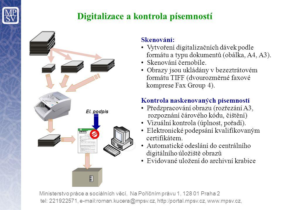 Digitalizace a kontrola písemností tel: 221922571, e-mail:roman.kucera@mpsv.cz, http:/portal.mpsv.cz, www.mpsv.cz, Ministerstvo práce a sociálních věc