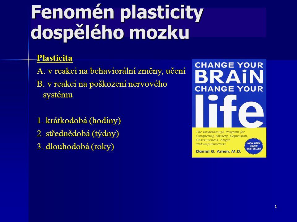 1 Fenomén plasticity dospělého mozku Plasticita A. v reakci na behaviorální změny, učení B. v reakci na poškození nervového systému 1. krátkodobá (hod