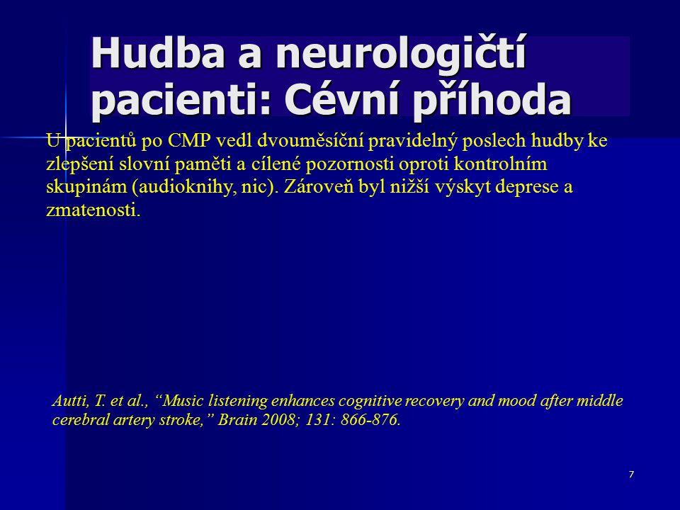 7 Hudba a neurologičtí pacienti: Cévní příhoda U pacientů po CMP vedl dvouměsíční pravidelný poslech hudby ke zlepšení slovní paměti a cílené pozornos