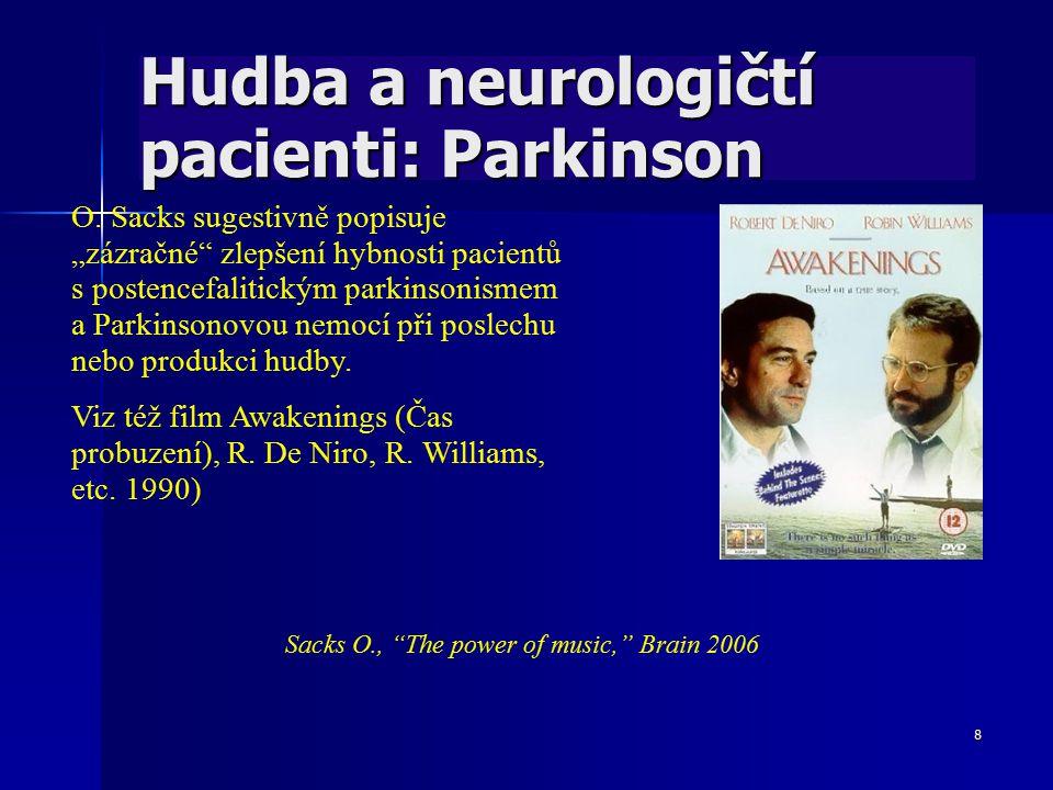 """8 Hudba a neurologičtí pacienti: Parkinson O. Sacks sugestivně popisuje """"zázračné"""" zlepšení hybnosti pacientů s postencefalitickým parkinsonismem a Pa"""