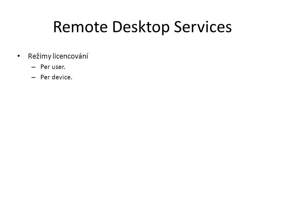Remote Desktop Services Režimy licencování – Per user. – Per device.