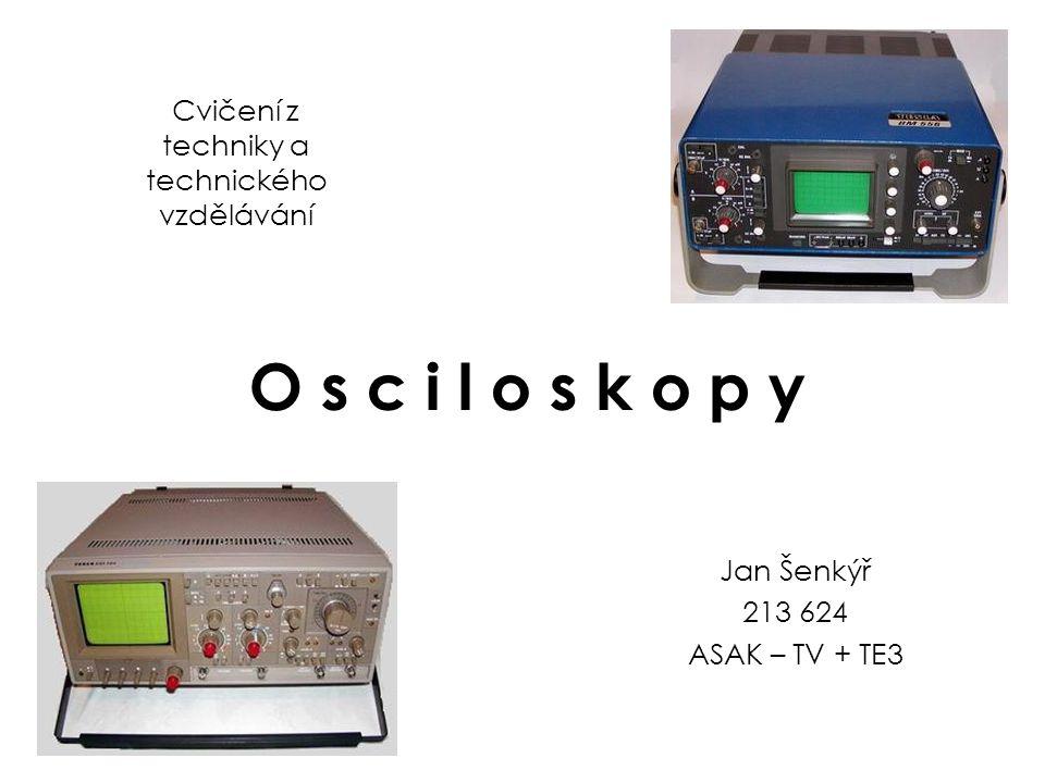 H i s t o r i e : První dvoupaprskový osciloskop uvádí na trh na konci třicátých let britská firma A.C.Cossor Teprve v roce 1947 se objevuje osciloskop se spouštěnou časovou základnou a kalibrovaným vertikálním zesilovačem (Tektronix 511) V padesátých letech se objevuje nový typ osciloskopu - tzv.