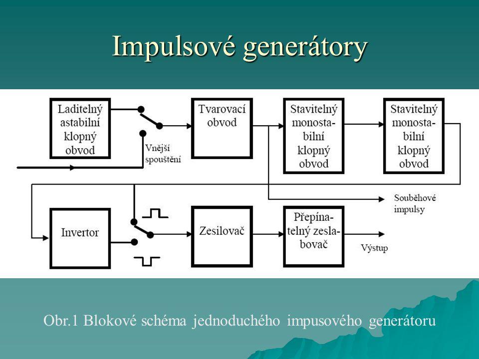 Impulsové generátory Obr.1 Blokové schéma jednoduchého impusového generátoru