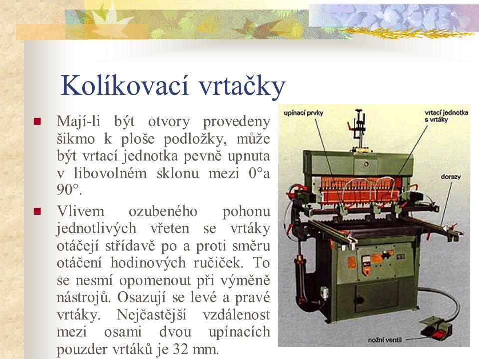 7.6.4Kolíkovací vrtačky Kolíková vrtačka slouží k výrobě děr na kolíky na ploše a boku desky a k vrtání děr pro police, otvorů pro kování apod.