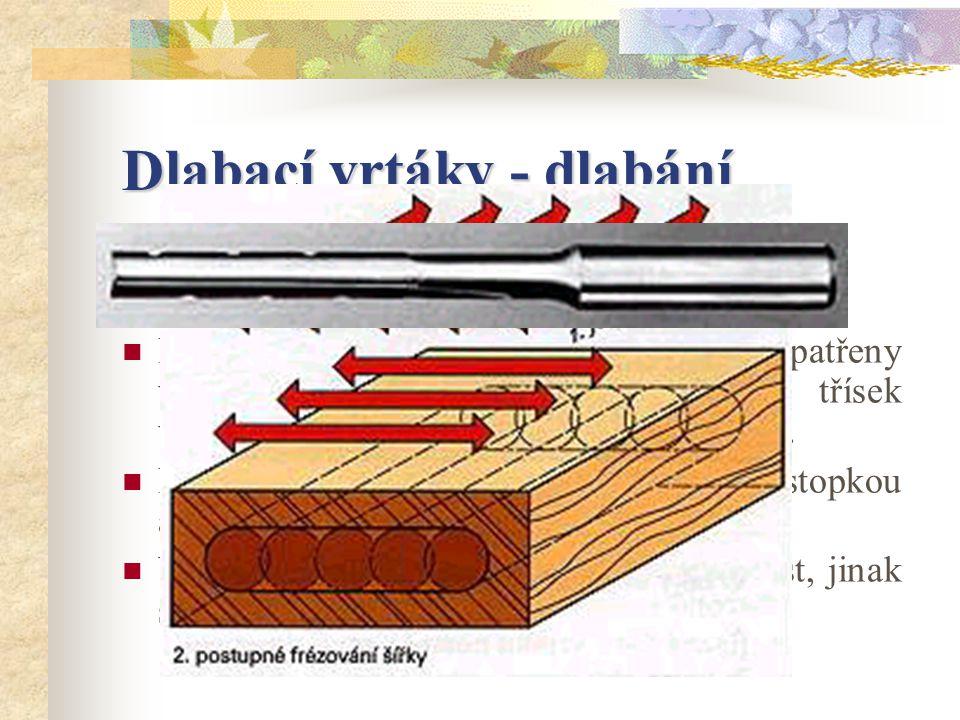 Dlabací vrtáky S dlabacími vrtáky se vyrábějí podélné díry a dlaby.